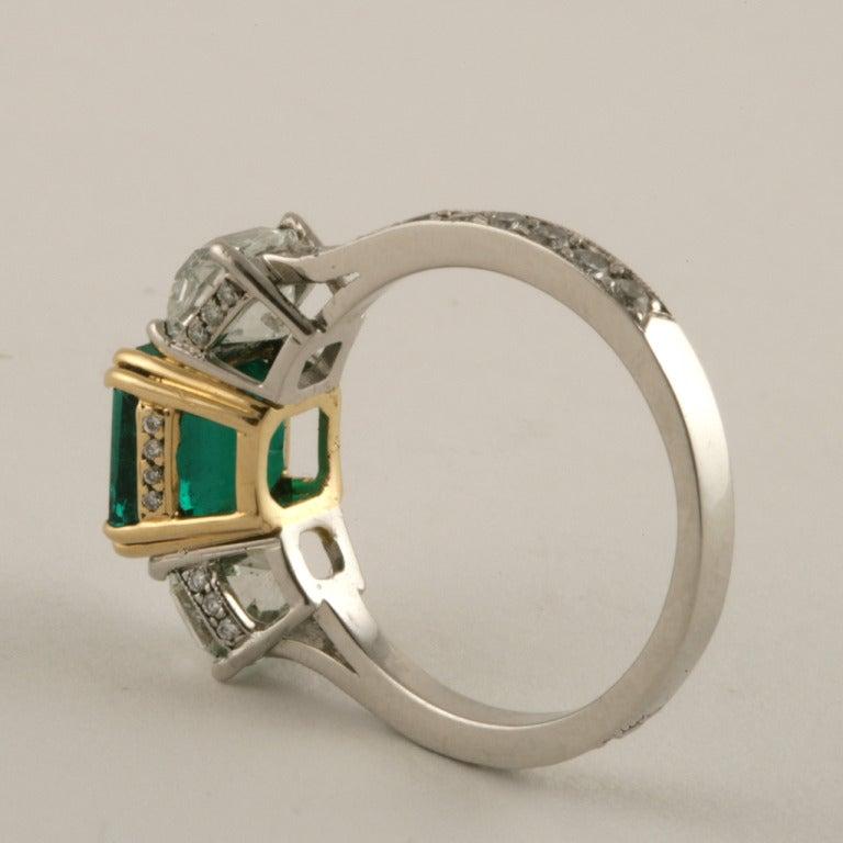 estate emerald and platinum ring at 1stdibs
