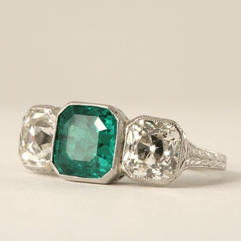 deco emerald platinum three ring at 1stdibs