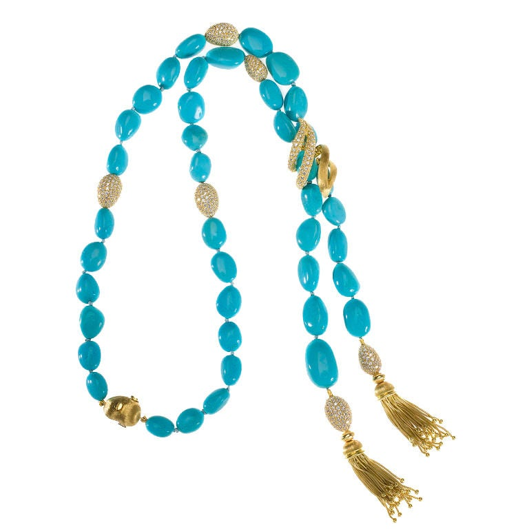 henry dunay turquoise bead gold and tassel necklace