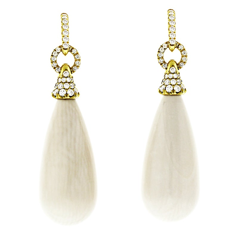 Diamond And Mammoth Ivory Swing Earrings At 1stdibs