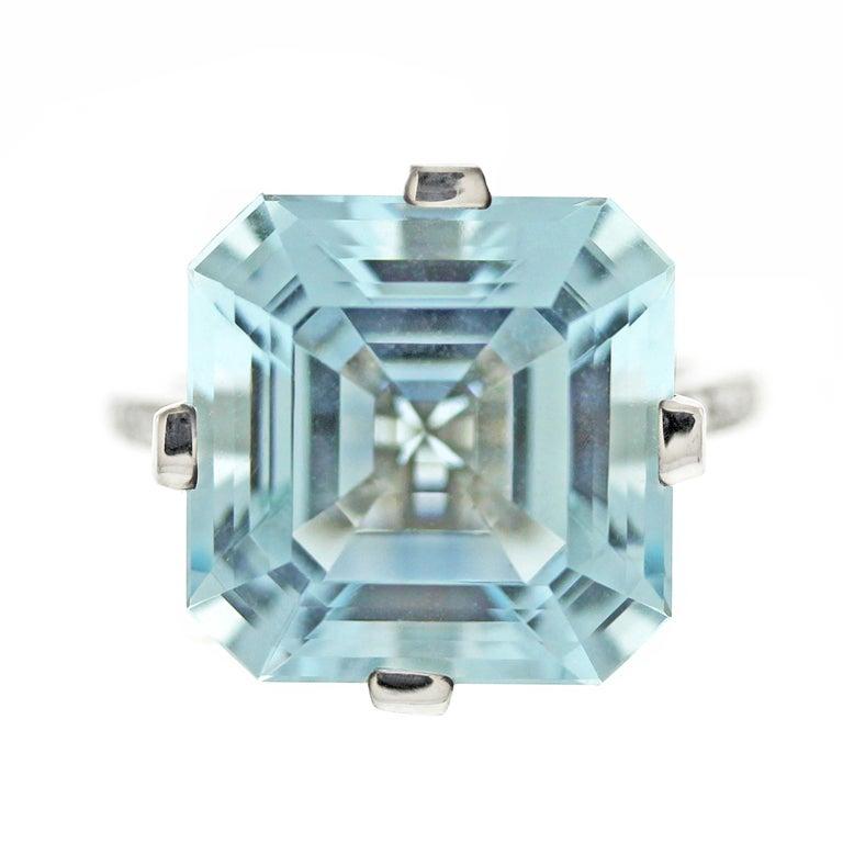 DONNA VOCK Asscher Cut Aquamarine Diamond Ring at 1stdibs