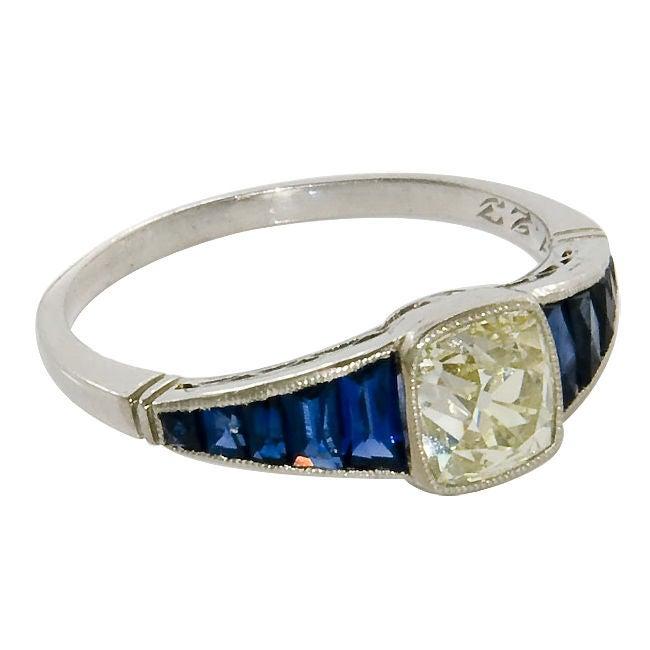 antique platinum cushion cut and sapphire ring at
