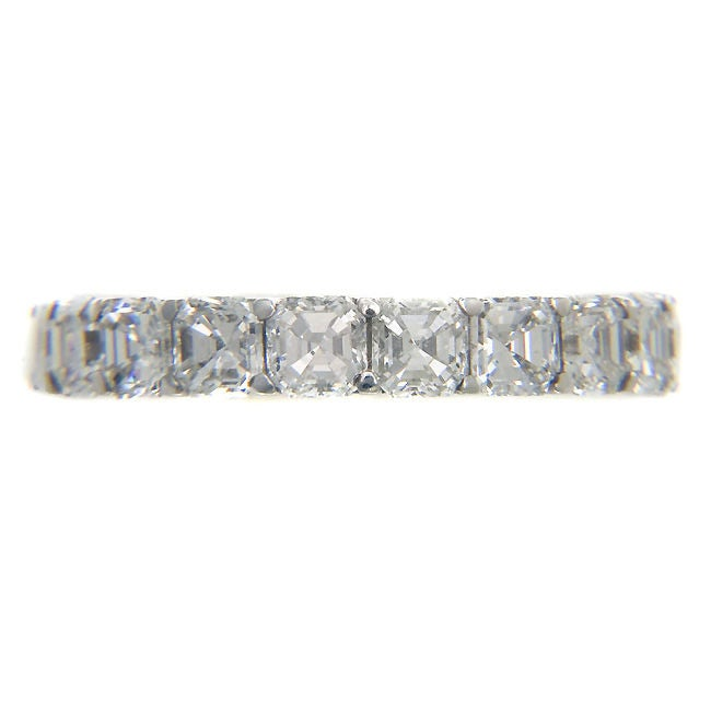 Platinum and Asscher cut Diamond Eternity Band Ring J.E ...