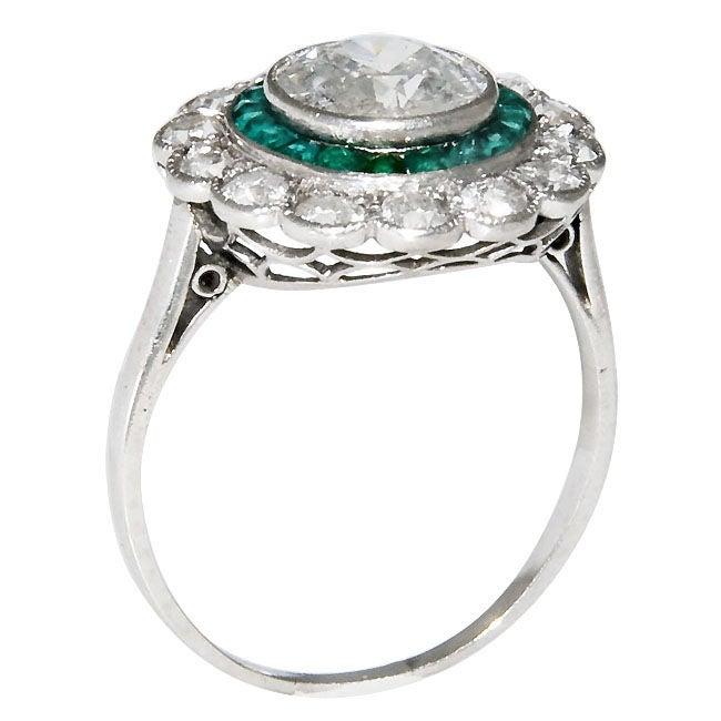 platinum and emerald ring 1 80 carat center at 1stdibs
