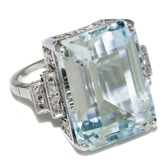 platinum and aquamarine ring at 1stdibs