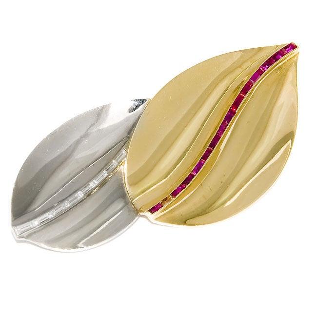 Cartier London, Diamond & Ruby Double Leaf Brooch For Sale