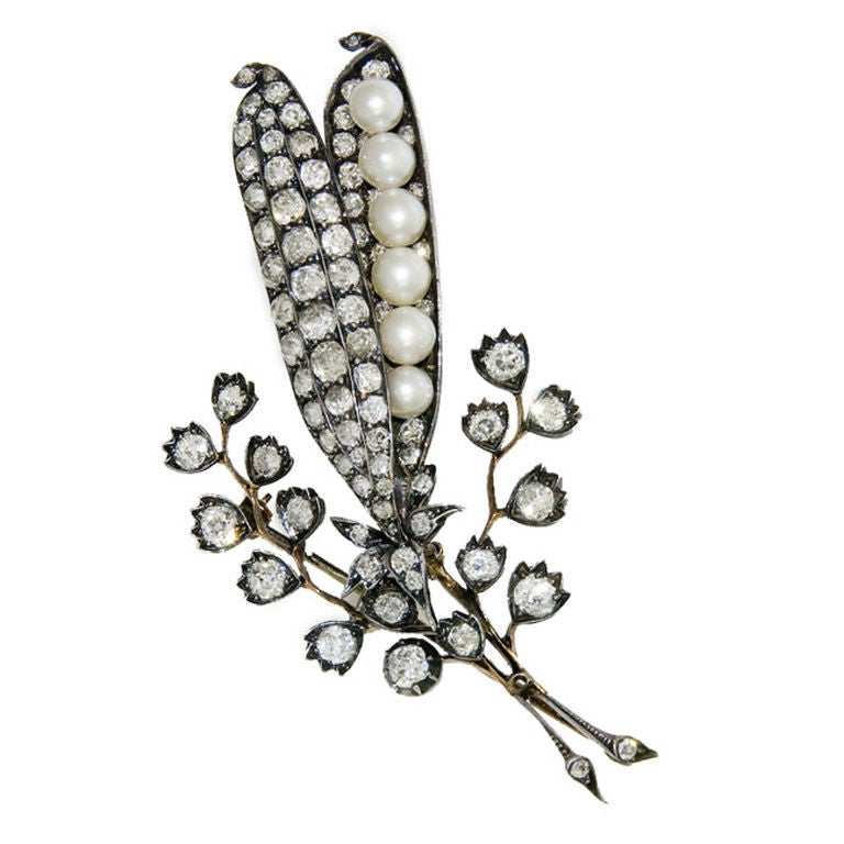 Fine Antique Diamond and pearl brooch