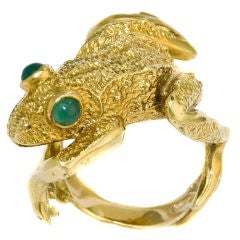 1960s Whimsical 18K Yellow Gold Frog ring