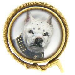 Antique Essex reverse crystal Dog Brooch