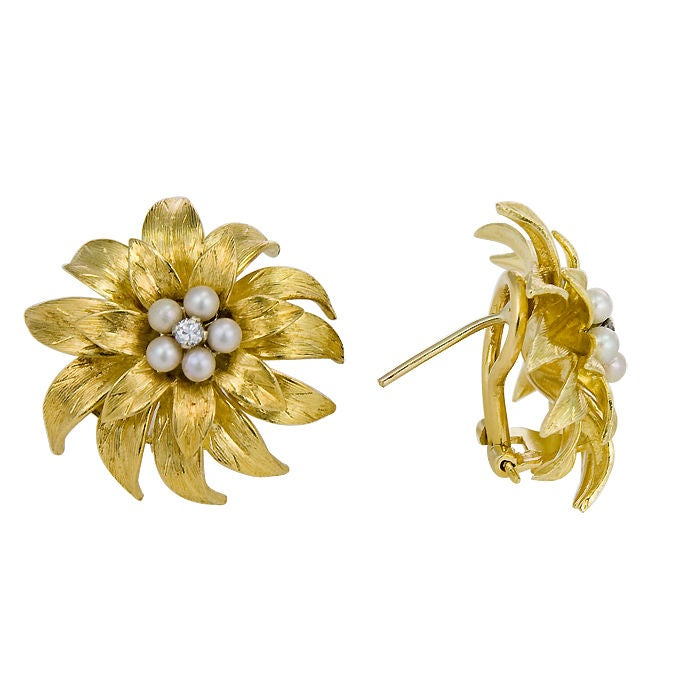 18K Diamond & Pearl flower form Earclips By Tiffany 2