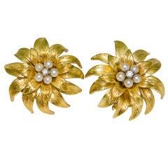18K Diamond & Pearl flower form Earclips By Tiffany