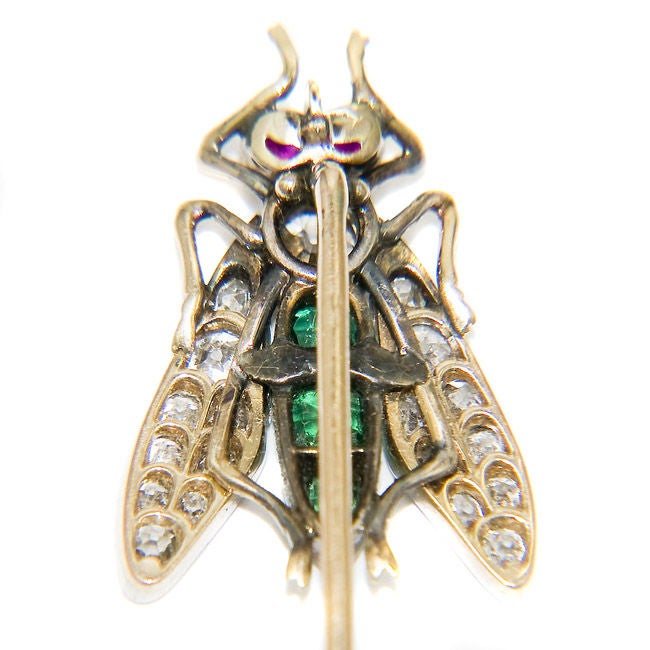 Victorian Superb, Large Antique Gem set Fly Stickpin