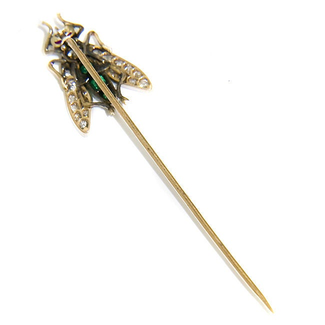 Women's Superb, Large Antique Gem set Fly Stickpin