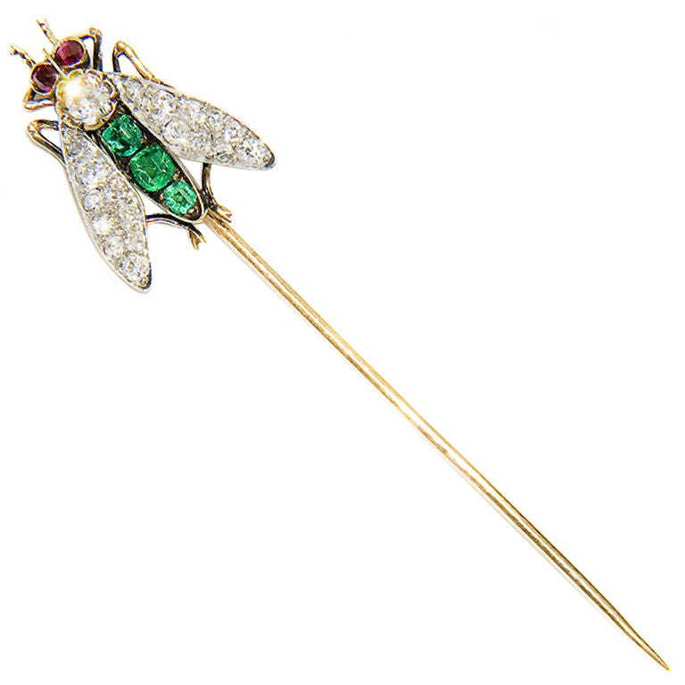 Superb, Large Antique Gem set Fly Stickpin