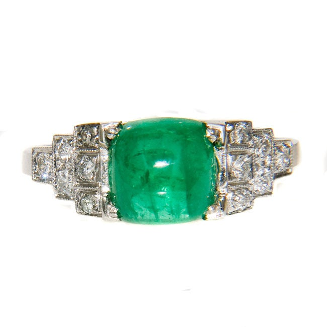 antique platinum and sugar loaf emerald ring at
