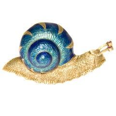Whimsical 18K and Enamel Snail Clip Brooch
