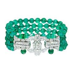 Art Deco Platinum, Diamond and Chrysophrase Bracelet