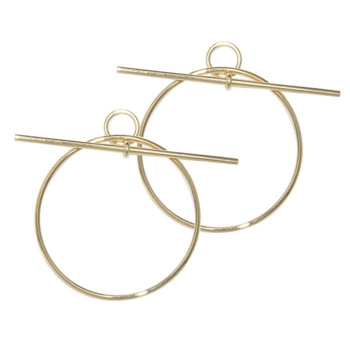 18k Yellow Gold Large Hoop Earrings By Hermes