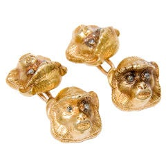 Antique Gold and diamond Monkey cuff links