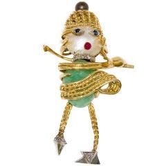Vintage Whimsical Gold and Gem set lady Golfer brooch