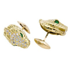 Gold Diamond & Emerald Serpent Head Cuff links