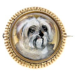 Antique Gold and Reverse Crystal Dog Brooch