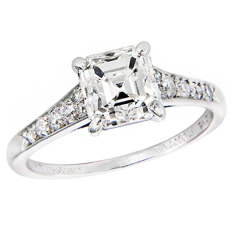 CARTIER 2 Carat Asscher cut Diamond Ring at 1stdibs