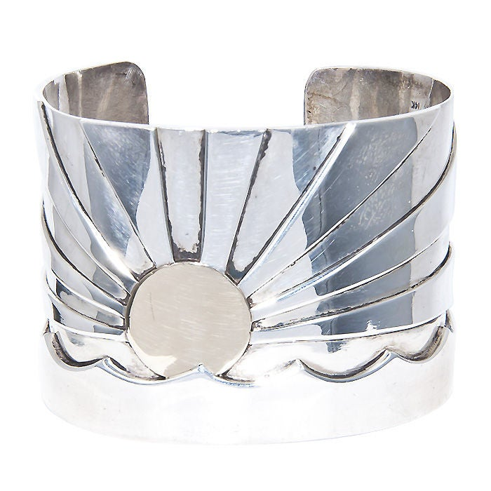 Wide Cuff Bracelet of Sterling Silver and 14K yellow Gold by M & J Savitt.