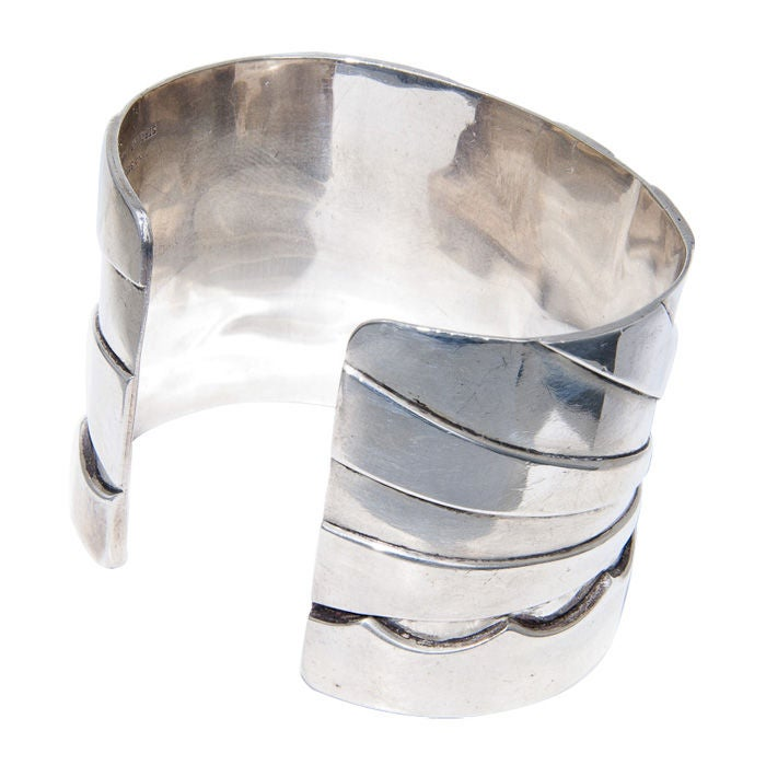 Women's M & J  SAVITT  Silver and Gold Cuff Bracelet For Sale