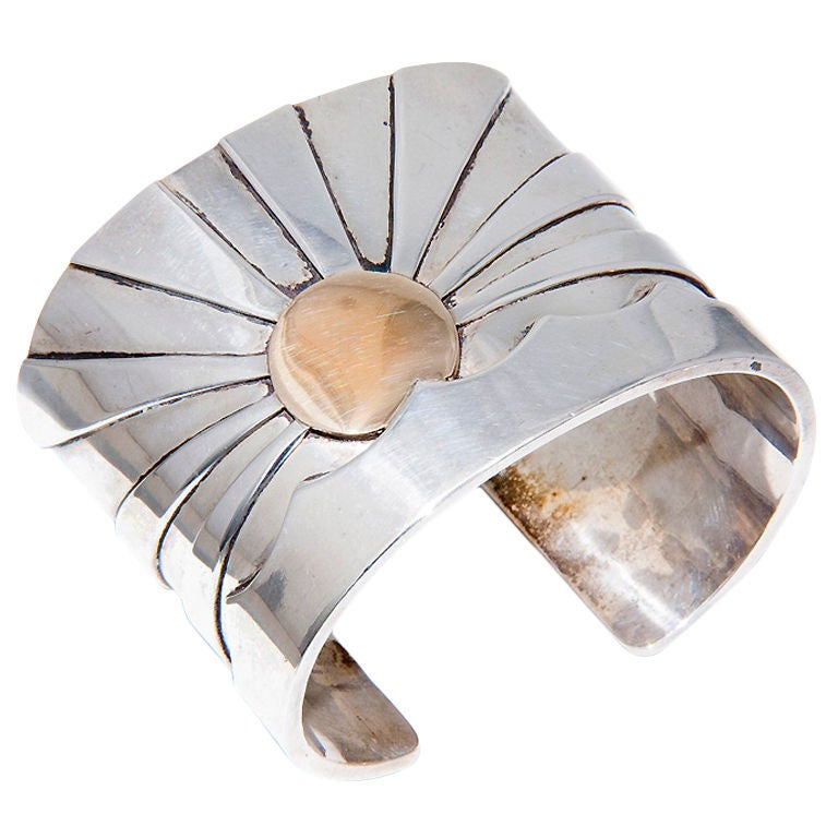 M & J  SAVITT  Silver and Gold Cuff Bracelet For Sale