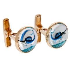 1950's  Gold and Reverse Crystal Swordfish Cufflinks