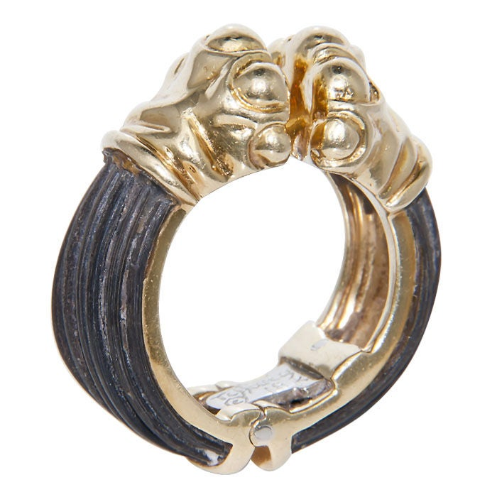 DONALD CLAFLIN for TIFFANY & CO. Gold & Elephant Hair Ring 3
