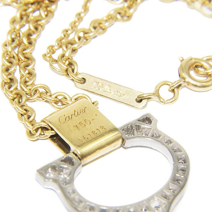 "CARTIER Gold and Diamond  ""C"" Pendant 4"