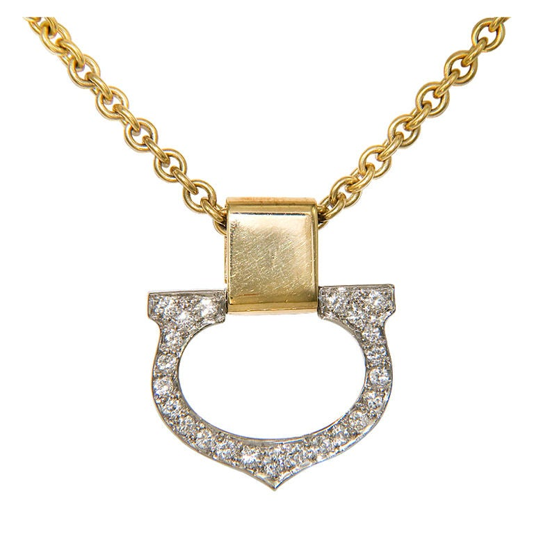 "CARTIER Gold and Diamond  ""C"" Pendant 1"