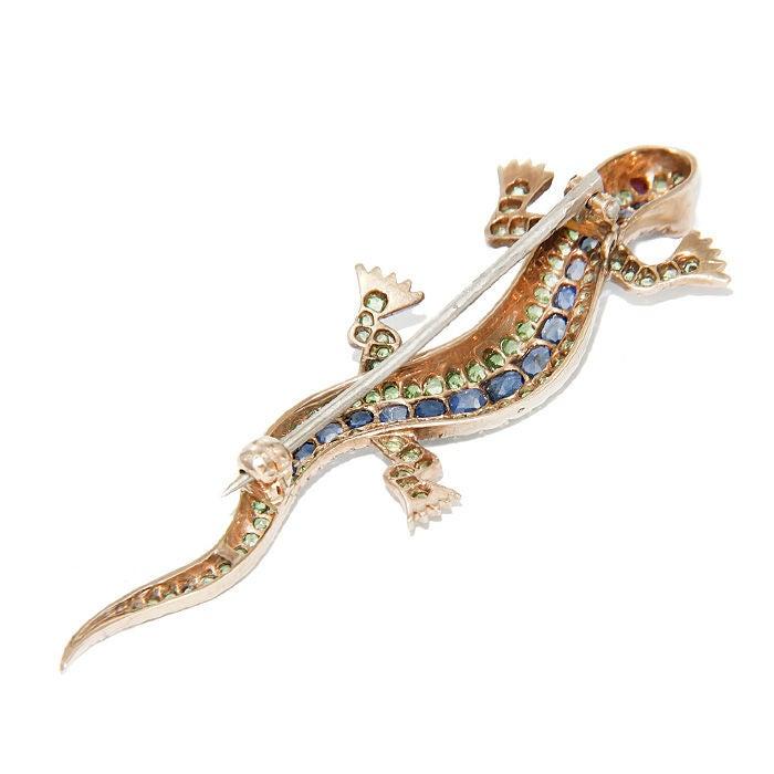 Antique Demantoid Garnet & Sapphire Lizard Brooch 2