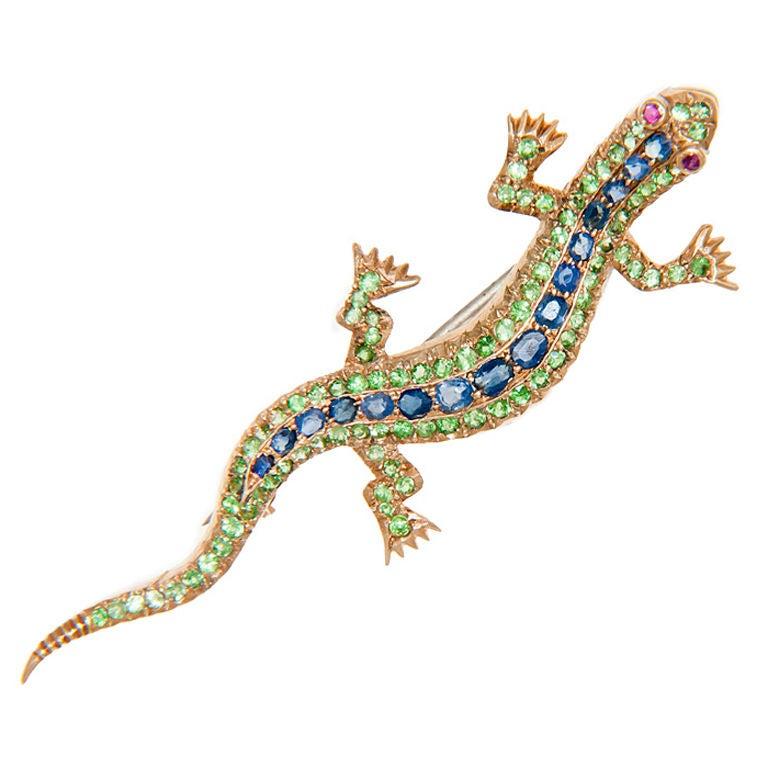 Antique Demantoid Garnet & Sapphire Lizard Brooch 1