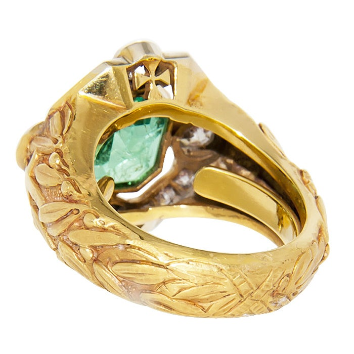 magnificent antique bishops ring and emerald at