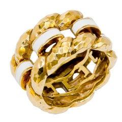 DAVID WEBB Gold and Enamel wide Band Ring