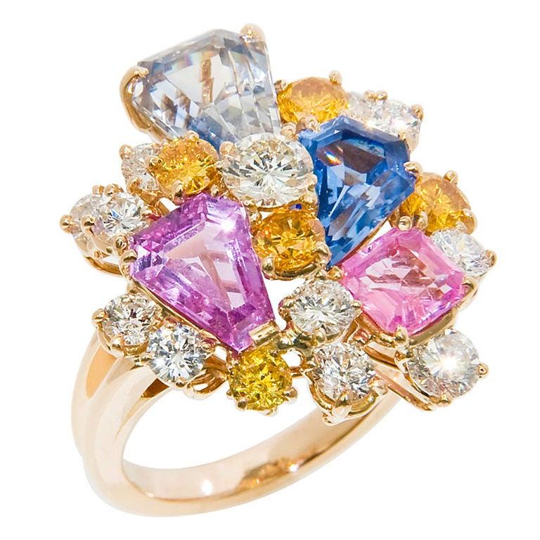 OSCAR HEYMAN FOR J.E. CALDWELL Sapphire & Diamond Ring