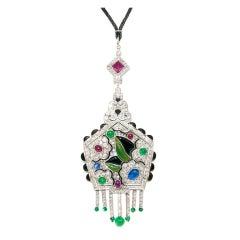 Magnificent Art Deco Gem Set Platinum Necklace