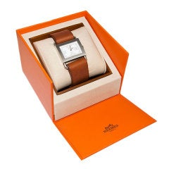 HERMES Barenia Steel Wrist Watch