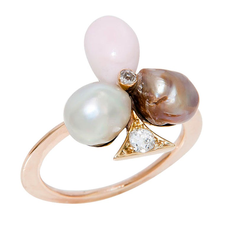 antique conch and pearl ring at 1stdibs