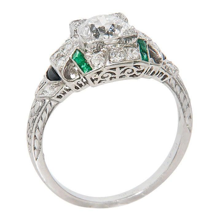 Women's Art Deco Platinum Diamond Engagement Ring