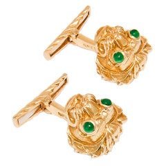 DAVID WEBB Gold Lion Cufflinks