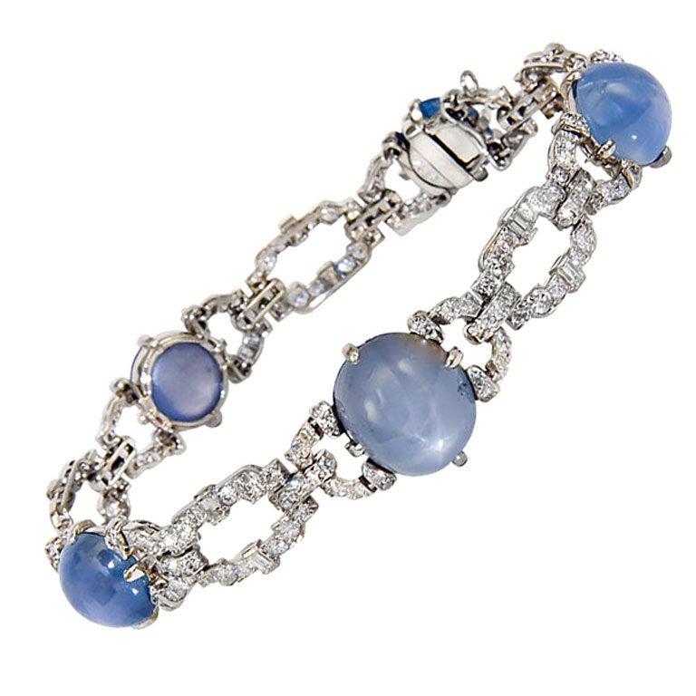Art Deco Diamond and Star Sapphire Bracelet at 1stdibs