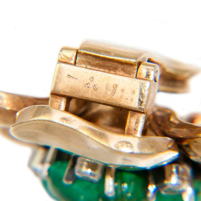 MAUBOUSSIN Emerald and Diamond Gold Retro Earclips 3