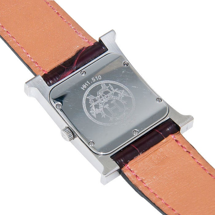 Hermes Stainless Steel Mid Sized Quot H Quot Watch At 1stdibs