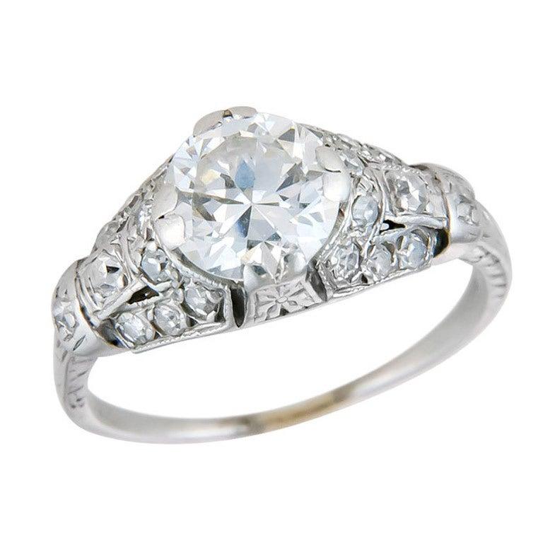 Diamond engagement rings on finger