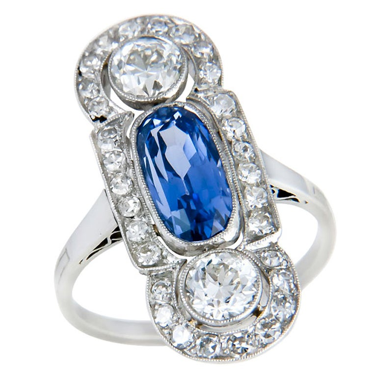 antique platinum and sapphire ring at 1stdibs