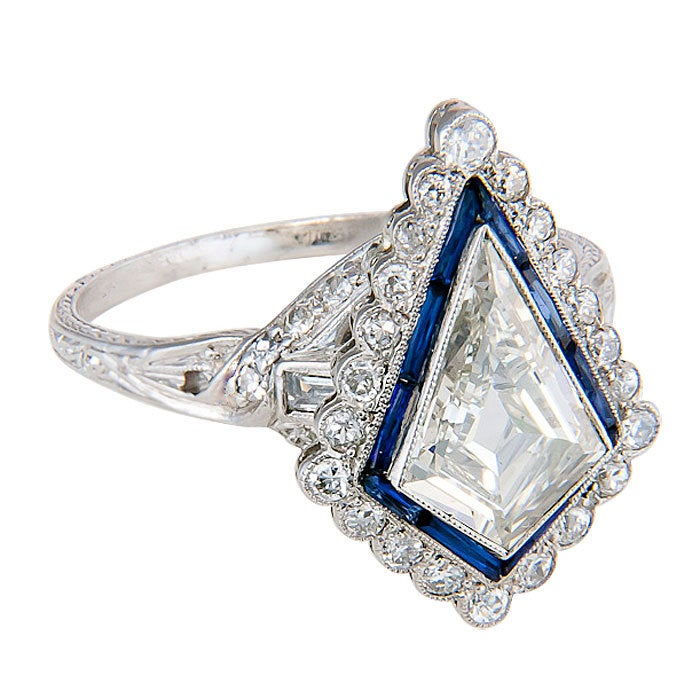 Kite Shaped Diamond Engagement Ring